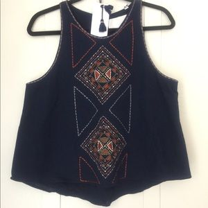 Piper By Townsen Embroidered Tank Top Medium